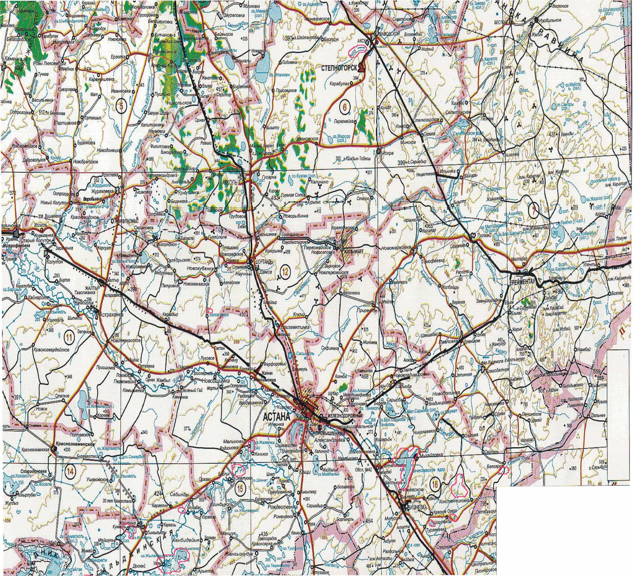 Карты астаны акмолинской области и др